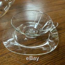 W Wagenfeld Bauhaus Schott Jena design glass teapot & tea cups/saucers 1930s-50s