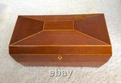 William IV Tea Caddy Antique Mahogany with Glass Greek Key Blending Cup